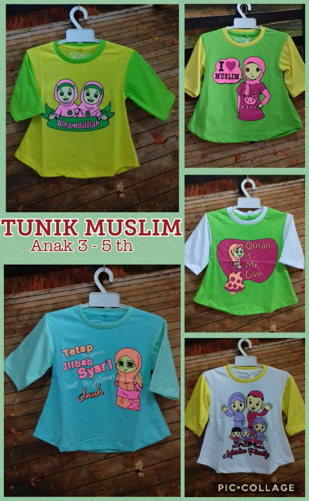 Supplier Kaos Tunik Muslim 3-5 th Murah Surabaya 20ribuan